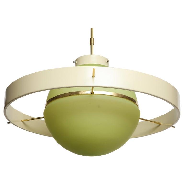 Green Glass Mid Century Satellite Pendant Light, Italy 1950s