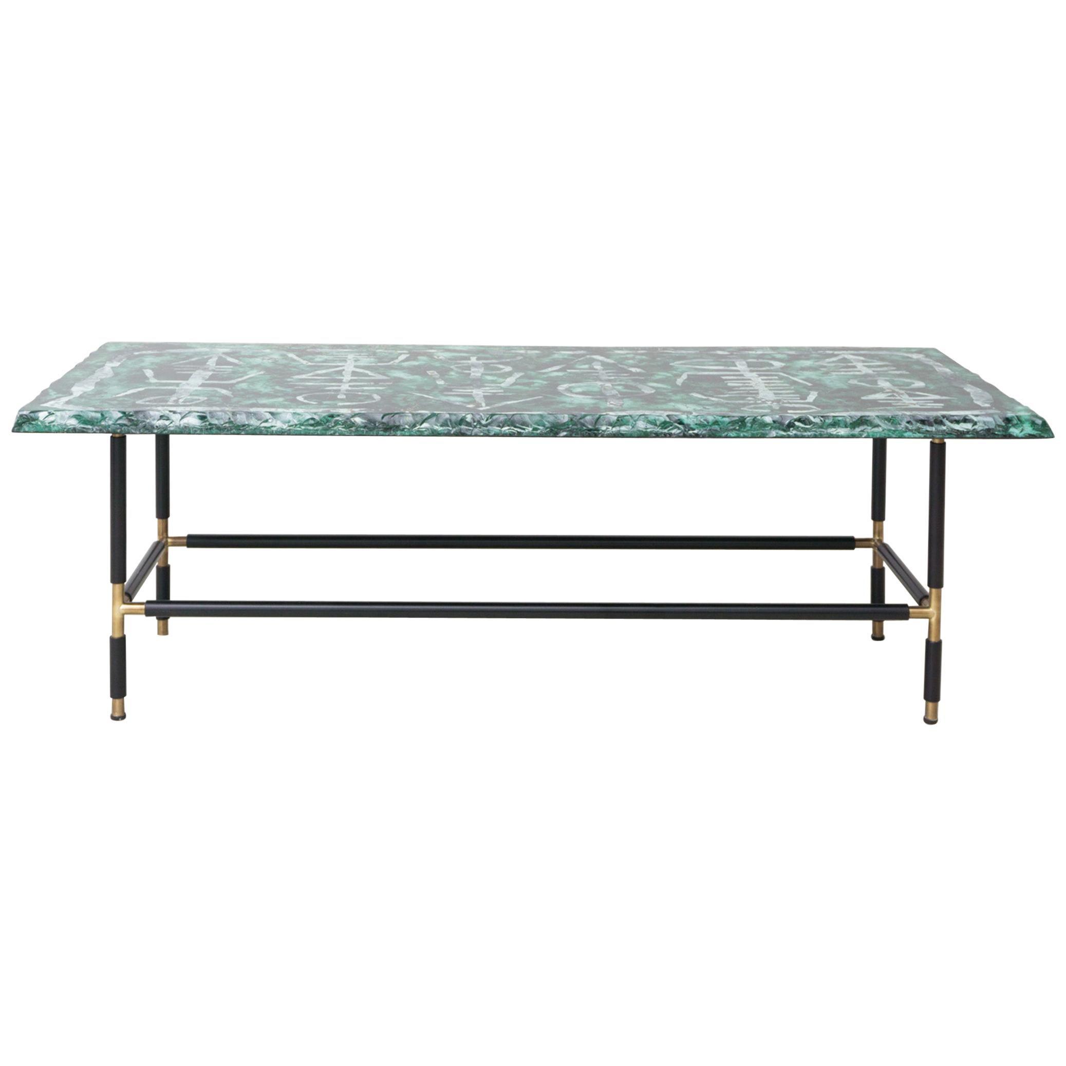 Green Glass Table by Duiliu Barnabé / Fontana Arte, c.a. 1960