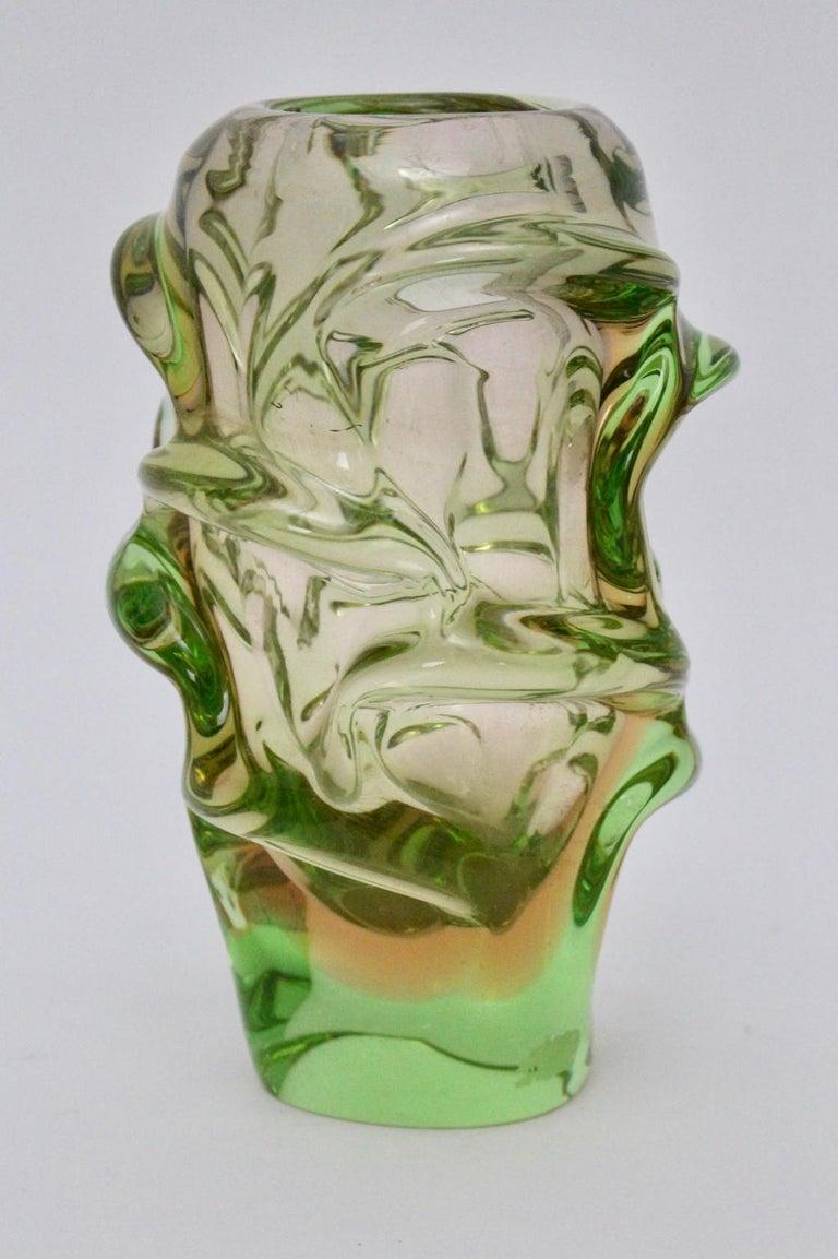 Mid-Century Modern Green Glass Vase by Jan Beranek for Skrdlovice Czech Republic, 1960s For Sale