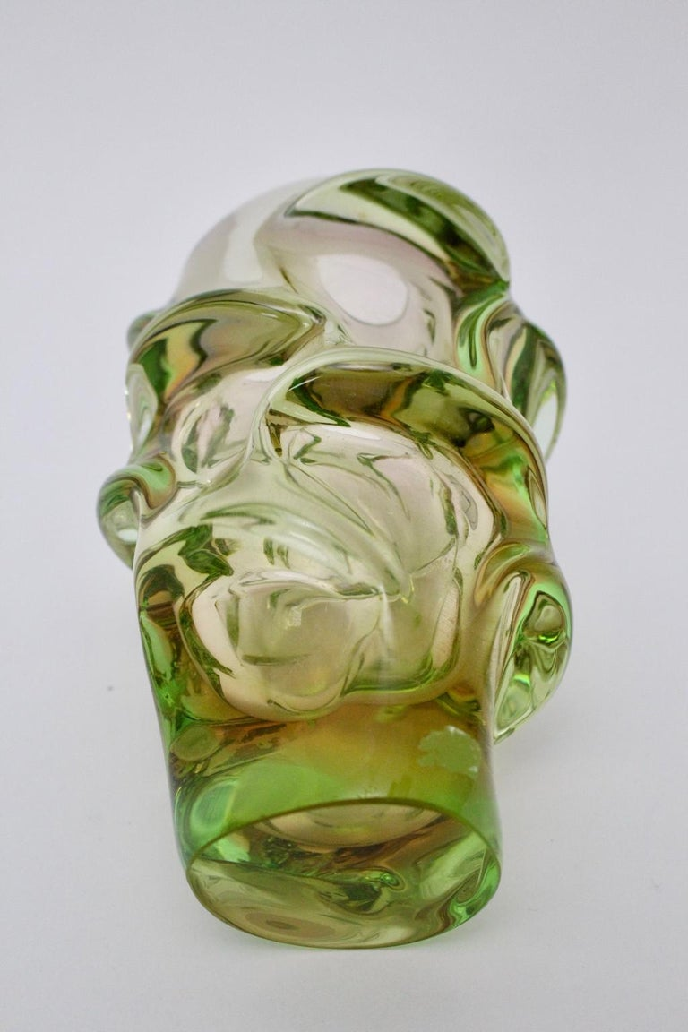 Mid-20th Century Green Glass Vase by Jan Beranek for Skrdlovice Czech Republic, 1960s For Sale
