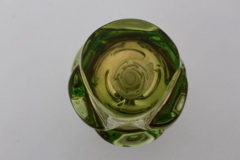 Green Glass Vase by Jan Beranek for Skrdlovice Czech Republic, 1960s For Sale 2