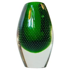 Green Glass Vase with Controlled Air Bubbles by Jacob Bang, 1950s
