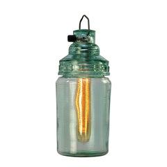 Green Glass Vintage Pendant Light