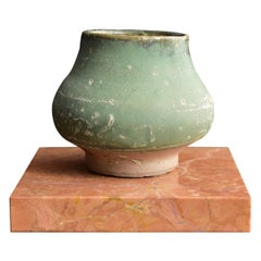 Green Glaze Pottery Made in the Tang Dynasty / Ancient Chinese Jar / Antique Jar