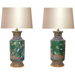 Green Glazed Background Porcelain Lamps