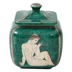 "Green Glazed Ceramic and Silver ""Argenta"" Jar by Wilhelm Kage for Gustavsberg"