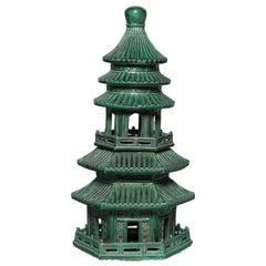 Green Glazed Chinese Pagoda Censer