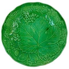 Green Glazed Majolica Strawberry and Grape Leaf on Basketweave Plate, circa 1890