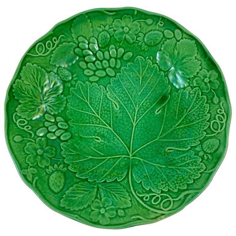 Green Glazed Majolica Strawberry and Grape Leaf on Basketweave Plate, circa 1890 For Sale