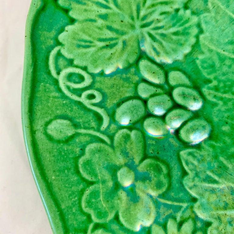 English Green Glazed Majolica Strawberry and Grape Leaf on Basketweave Plate, circa 1890 For Sale