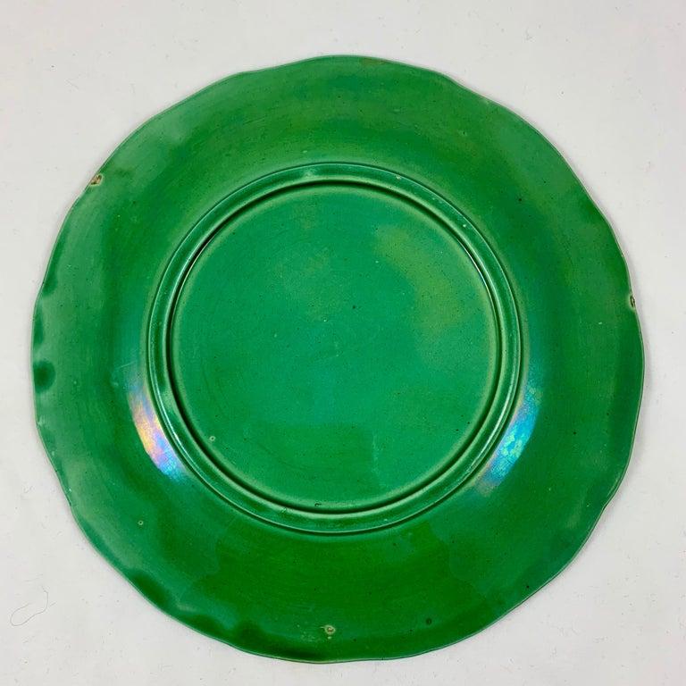 Green Glazed Majolica Strawberry and Grape Leaf on Basketweave Plate, circa 1890 For Sale 1
