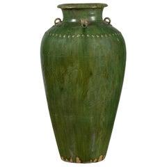 Green Glazed Martaban Water Jug with Petite Loop Handles and Bead Motifs