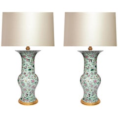 Green Glazed Porcelain Lamps