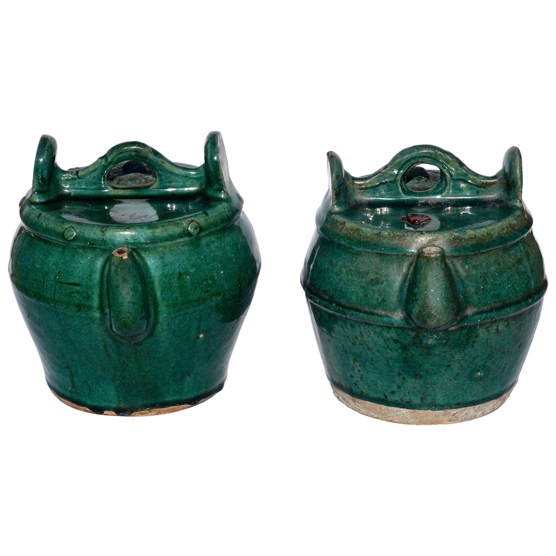 Green Glazed Shiwan Pottery Teapots Qing Dynasty, 'Pair'