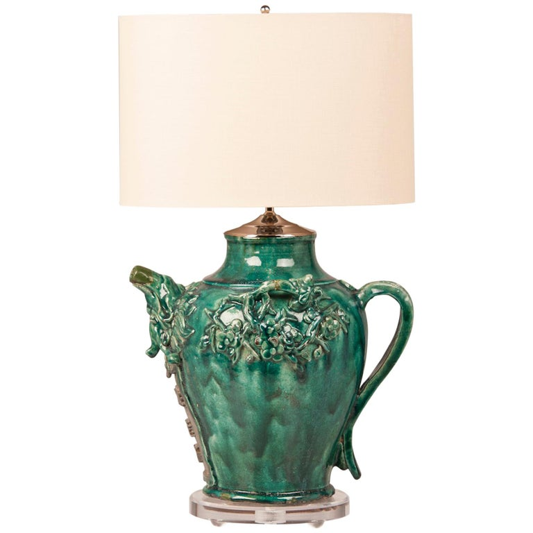 Paris Porcelain Hand Decorated Vase Fitted For Lamp Pia: Green Glazed Vintage Chinese Pottery Vessel Jug Lamp China