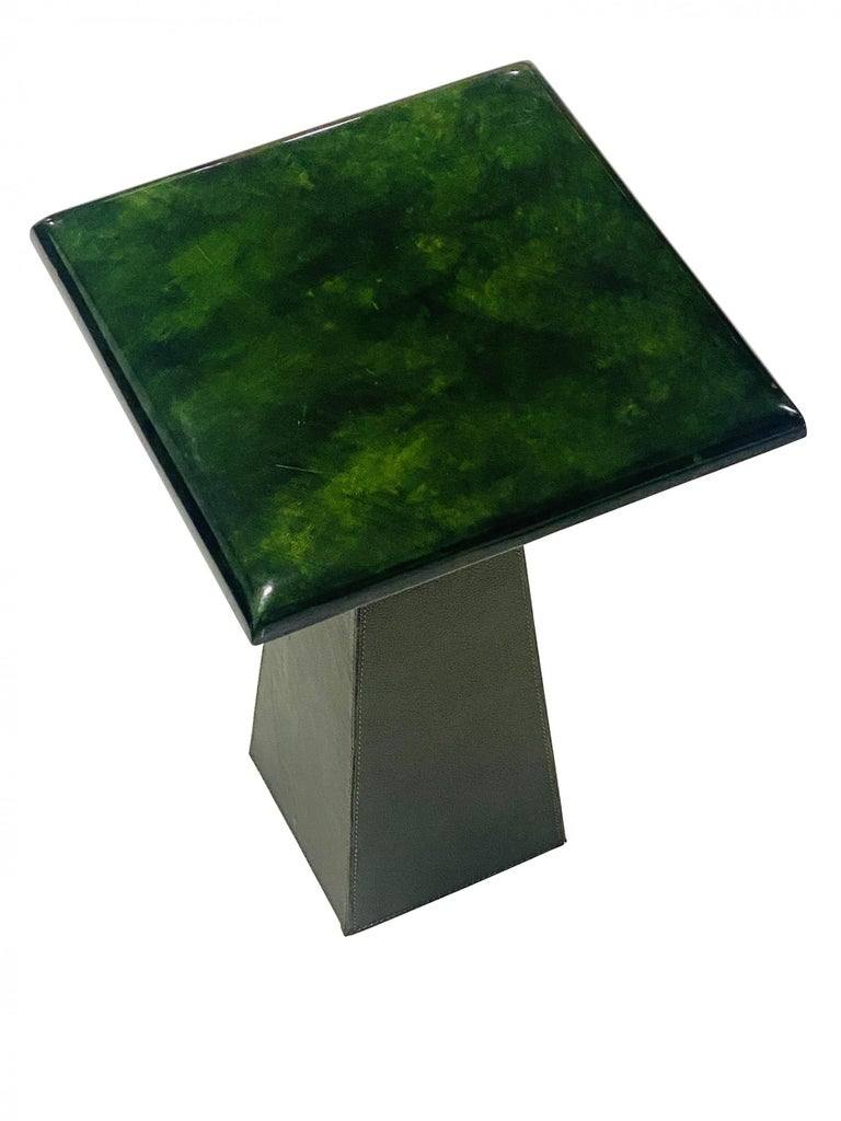 Mid-Century Modern Green Goatskin and Leather Drink Tables Attributed to Aldo Turo, 1970s For Sale