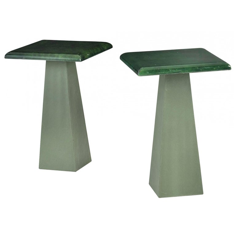 Green Goatskin and Leather Drink Tables Attributed to Aldo Turo, 1970s For Sale