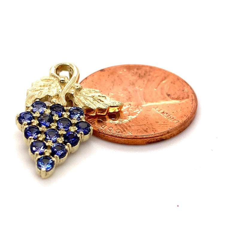 Women's or Men's Green Gold Grape Pendant with 13 Benitoites For Sale