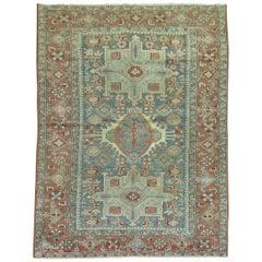 Green Gray Brown Antique Persian Heriz Rug