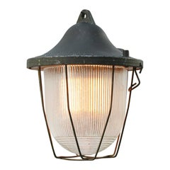 Green Gray Metal Vintage Industrial Striped Glass Cage Pendant Lamp