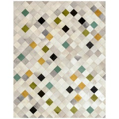 Green, Gray, Mustard Falling Squares Customizable Cowhide Area Floor Rug X-Large