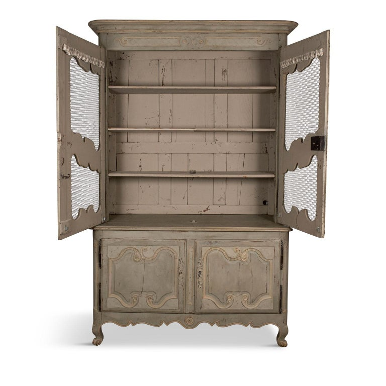 Louis XV Green-Gray Painted Buffet Deux-Corps For Sale