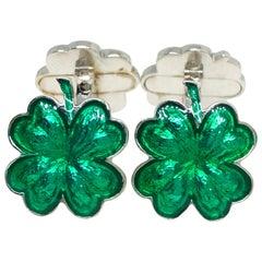 Green Hand Enameled Cloverleaf Sterling Silver Cufflinks