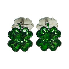 Berca Green Hand Enameled Double Cloverleaf Sterling Silver Cufflinks