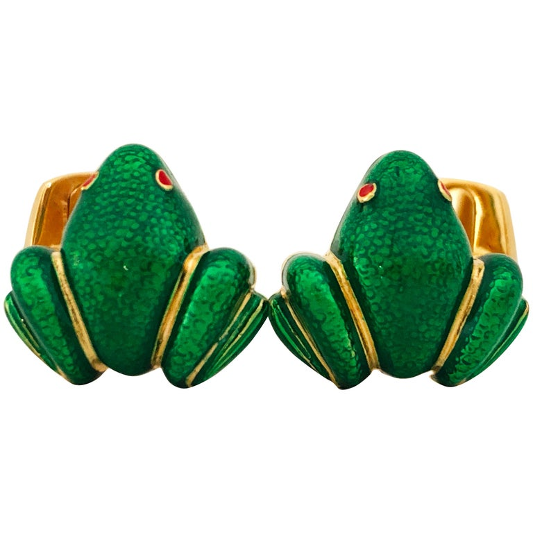 Berca Green Hand Enameled Frog Shaped Sterling Silver Gold-Plated Cufflinks For Sale