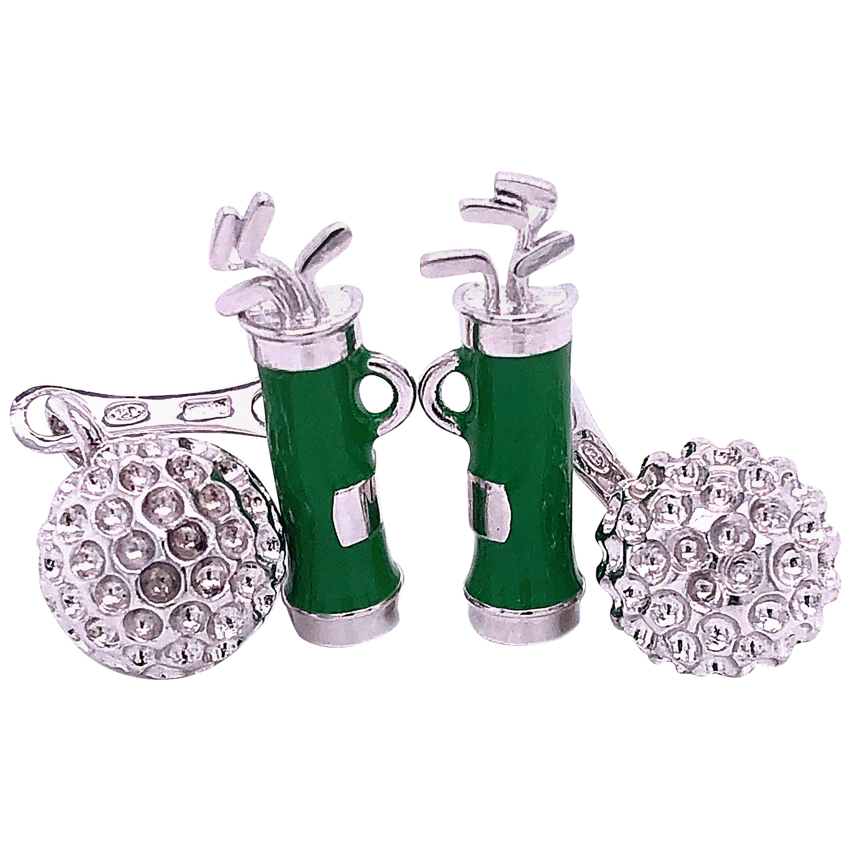 Berca Green Hand Enameled Golf Bag, Ball Back Solid Sterling Silver Cufflinks