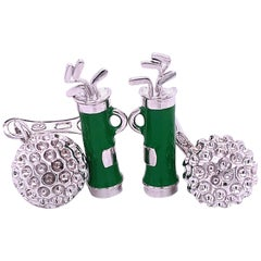 Berca Green Hand Enameled Golf Bag, Ball Back Solid Sterling Silver Cufflinks