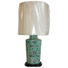 Green, Hand-Painted Asian Vase Lamp
