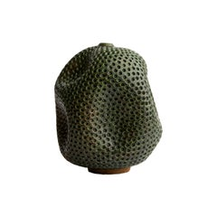 Green Handmade Contemporary Ceramic Vase / Interior Sculpture / Wabi Sabi