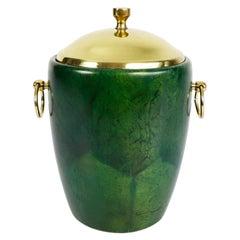 Green Ice Bucket in Goatskin and Brass by Aldo Tura, 1950s, Italy