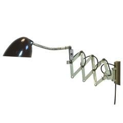 Green Industrial Scissor Wall Lamp, 1960s