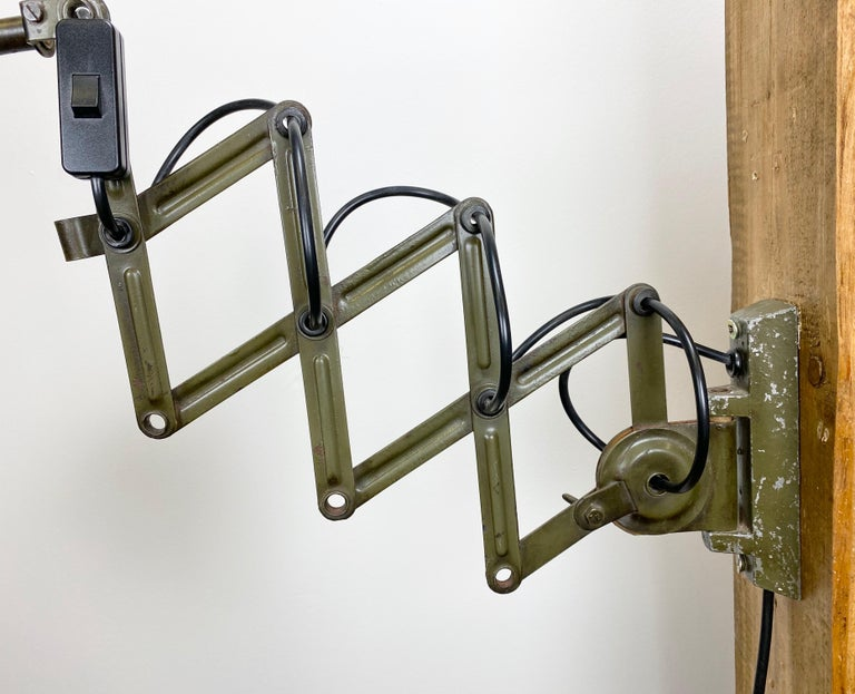 Painted Green Industrial Scissor Wall Lamp from Elektroinstala, 1960s For Sale