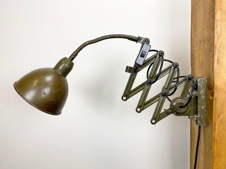 Iron Green Industrial Scissor Wall Lamp from Elektroinstala, 1960s For Sale