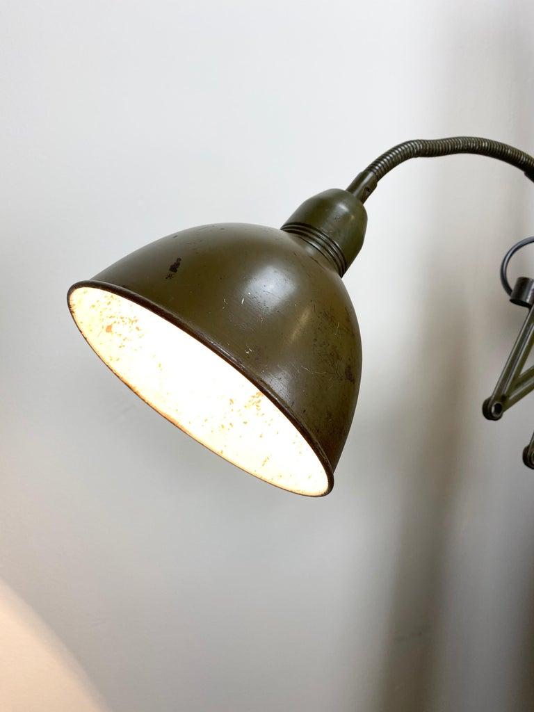 Green Industrial Scissor Wall Lamp from Elektroinstala, 1960s For Sale 2