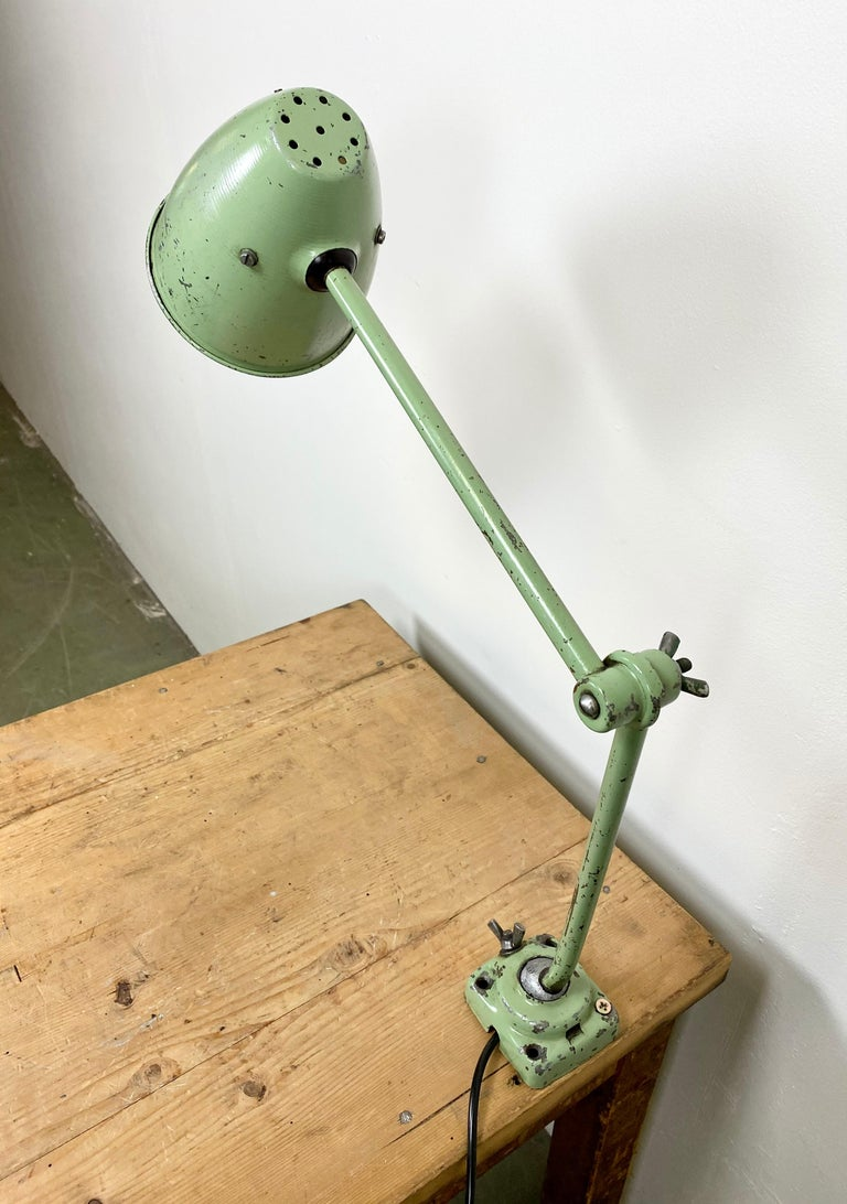Iron Green Industrial Table Lamp, 1960s For Sale