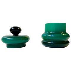 Green Italian Glass Jar by Empoli, 1960s