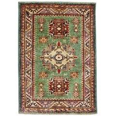 Green, Ivory and Red Handmade Wool Distressed Anatolian Caucasian Rug