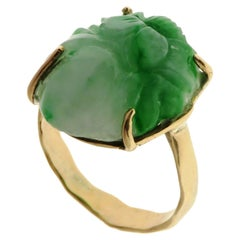 Green Jade 9 Karat Rose Gold Ring Handcrafted in Italy