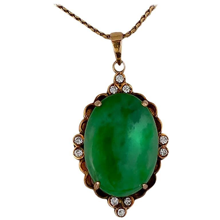 Jadeite Jade and Diamond 18 Karat Diamond Pendant 18 Karat Gold Necklace