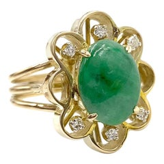 Green Jade and Diamond Floral Yellow Gold Ring