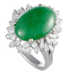 Green Jade and Diamond Platinum Cocktail Ring