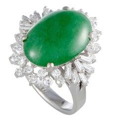 Green Jade and Diamond Platinum Cocktail Ring