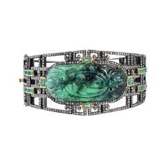 Green Jade Bangle with Diamonds and Emeralds