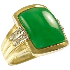 Green Jade Diamond 14 Karat Gold Ring