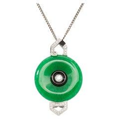 Green Jade, Diamond and Onyx Pendant
