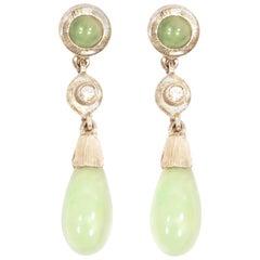 Green Jade Diamonds 18 Karat White Engraved Gold Dangle Earrings